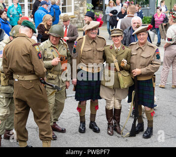 October 2018 men and women dressed as soldiers in World War two at an annual re-enactment in Pckering North Yorkshire - Stock Image