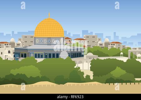 A vector illustration of Dome of Rock Jerusalem - Stock Image