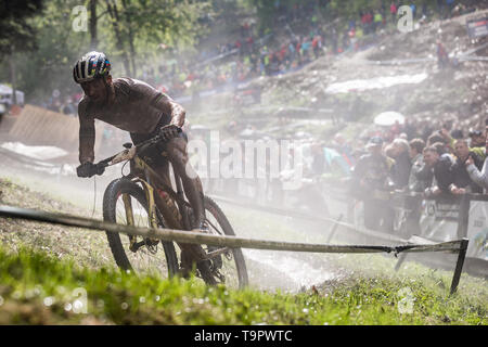 Nino Schurter of Switzerland competes at the XC men race of UCI MTB World Cup in Albstadt, Germany, May 19, 2019. (CTK Photo/Michal Cerveny) - Stock Image
