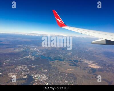 Flying over Canberra Australia in Australian airline Qantas - Stock Image