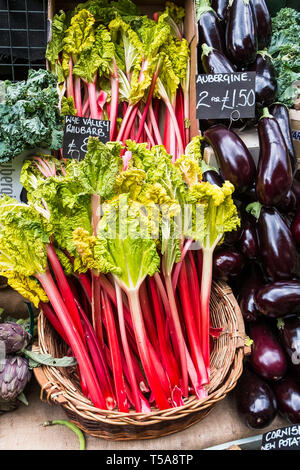 Fresh vegetables for sale in Borough Market in London. - Stock Image