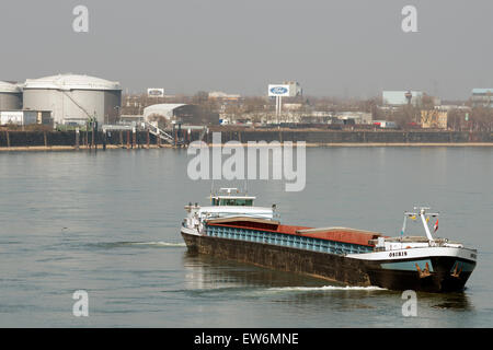 Osiris barge, river Rhine, Niehl, Cologne, Germany. - Stock Image