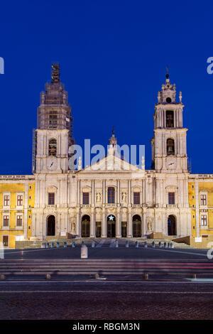 Palace of Mafra or Palacio Nacional, Mafra, Lisbon, Portugal - Stock Image