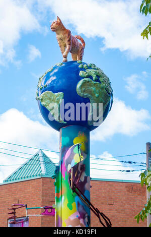 Sculpture of tier on tope of the world in Kensington Market in downtown Toronto Ontario Canada - Stock Image