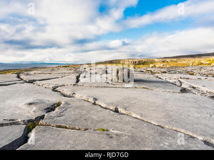 Smooth limestone pavement with erratic boulder at Poulsallagh near the Atlantic Coast of the Burren, County Clare, Ireland - Stock Image