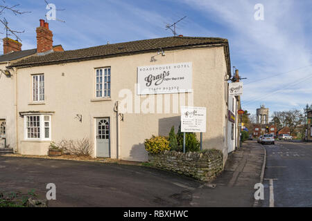 Roadehouse Hotel and Grays Coffee Shop, formerly a prestige restaurant but put up for sale as a residential unit in 2017; Roade, Northamptonshire,UK - Stock Image