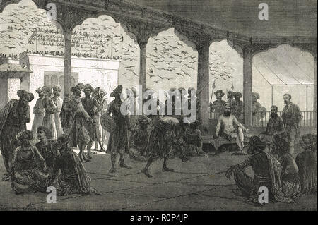 Court of the Guicowar of Baroda, or Maharaja Gaekwad of Baroda, India.  A princely state of British India - Stock Image