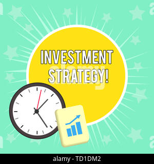 Writing note showing Investment Strategy. Business concept for Set of Rules Procedures Behavior a Guide to an Investor Layout Wall Clock Notepad with  - Stock Image