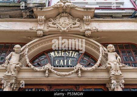 Majestic Cafe, Rua Santa Caterina, facade detail, Porto, Portugal - Stock Image
