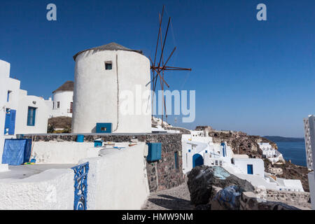 Windmills in Santorini Greece - Stock Image