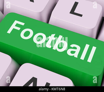 Football Key On Keyboard Meaning American Rugby Or Soccer - Stock Image