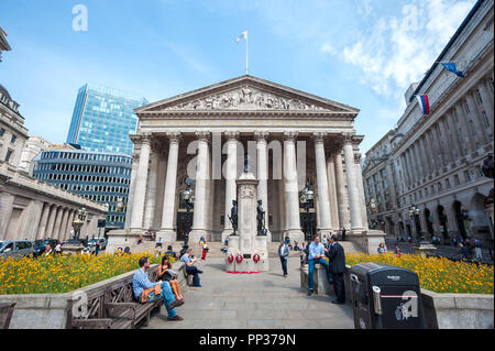 Western Portico of the Royal Exchange building, London - Stock Image