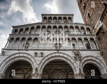 Facade of the Cathedral of St Martin, Lucca, Tuscany, Italy ( Duomo di Lucca, Cattedrale di San Martino) - Stock Image