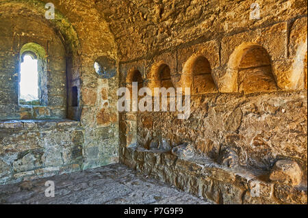 Stone chapel within the confines of Richmond Castle in North Yorkshire, England - Stock Image