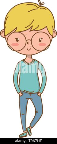 Stylish boy blushing cartoon outfit jeans sweater glasses  isolated vector illustration graphic design - Stock Image