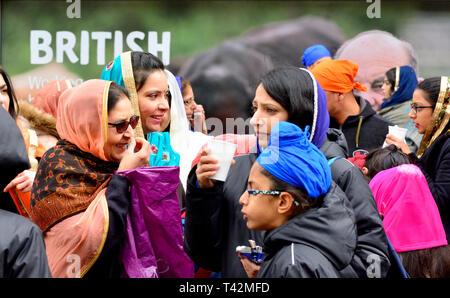 Gravesend, Kent, UK. 13th April. Vaisakhi (or Baisakhi / Vaishakhi / Vasakhi) annual Sikh festival celebrating the Punjabi New Year. Gravesend has a large Sikh community dating back to the 1950s. Credit: PjrFoto/Alamy Live News - Stock Image