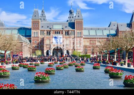 Amsterdam, Netherlands - April 2019: People and tulips at the Rijksmuseum. - Stock Image