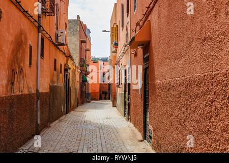 Empty street in the Medina of Marrakech, Morocco - Stock Image