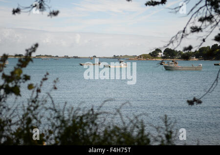 Oyster boats, Brittany, France - Stock Image