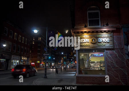 OTTAWA, CANADA - NOVEMBER 11, 2018: Gay rainbow flag waiving on an organic shop on Bank Street in The Village, in Centretown. The village is the LGBT  - Stock Image
