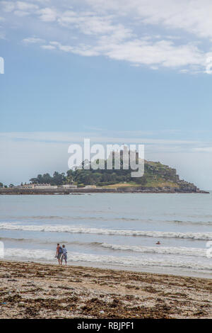 View of St Micheals Mount at Marazion in Cornwall - Stock Image