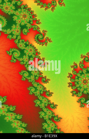 Two parallel lines divided by fractal curves - Stock Image