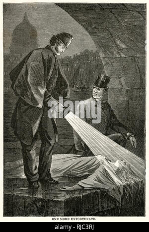 Policeman beaming a torch over the body of a woman found at the side of a canel in the streets of London. - Stock Image