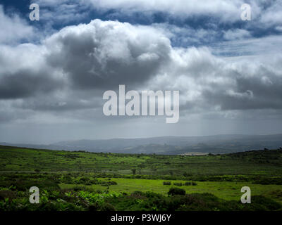 Dramatic skies over Datmoor National Park, Devon - Stock Image