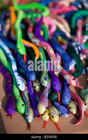 Toy stuffed snakes for sale at Frisco Fest in Rogers, Arkansas, U.S.A. - Stock Image