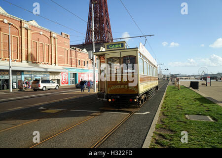 Blackpool Box Car No.40 Passing The Tower -1 - Stock Image