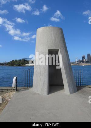 industrial column on the  former BP site at Waverton, Eastern shore Sydney, modernism 1920s    concrete - Stock Image