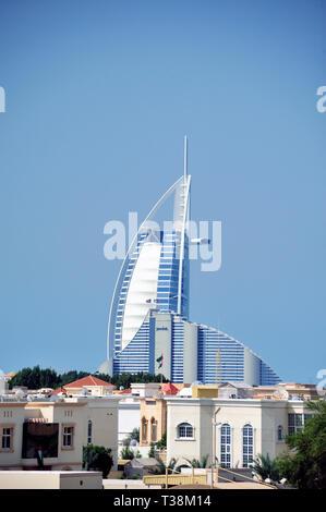 Dubai,United Arab Emirates-February 08, 2014: Residential area in front of the Burj al Arab hotel - Stock Image
