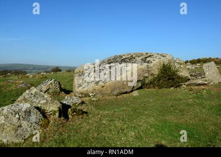 Garn Turne or Old Coldstone burial chamber with collapsed capstone thought to weigh 60 tons Neolithic period Wolfscastle Cas -BlaiddWales Cymru UK - Stock Image