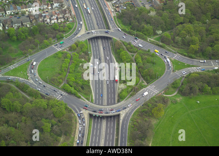 Aerial view on the road junction of the North Circular Road near South Woodford in North London - Stock Image