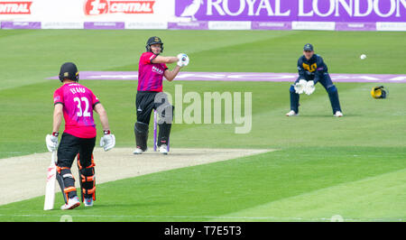 Brighton, UK. 7th May 2019 - Luke Wright of Sussex Sharks hits out but is caught out from this shot for 97 runs during the Royal London One-Day Cup match between Sussex Sharks and Glamorgan at the 1st Central County ground in Hove. Credit : Simon Dack / Alamy Live News - Stock Image