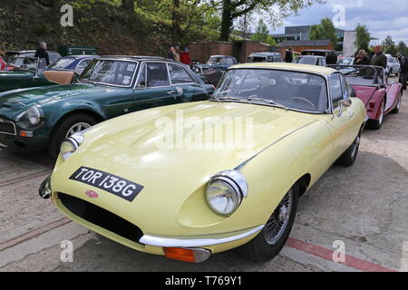 Jaguar E-Type S2 Coupe (1968), British Marques Day, 28 April 2019, Brooklands Museum, Weybridge, Surrey, England, Great Britain, UK, Europe - Stock Image