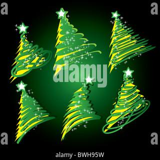 christmas tree sketch set - Stock Image
