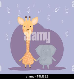 cute giraffe and elephant adorable characters vector illustration design - Stock Image