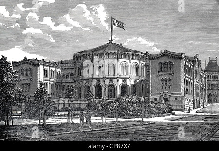 Storting, Parliament of Norway, Oslo or Christiania or Kristiania, historic engraving from 19th Century, Das Storting - Stock Image