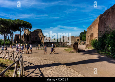 Rome, Italy - 24 June 2018: The ancient ruins of Hippodrome Of Domitian at the Roman Forum in Rome. Famous world landmark - Stock Image