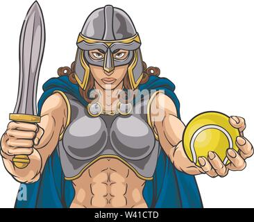 Viking Trojan Celtic Knight Tennis Warrior Woman - Stock Image