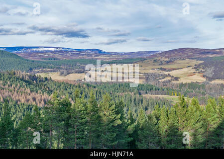 BALMORAL CAIRNS BALMORAL ESTATE CRATHIE VIEW TO FARMS AND SNOW COVERED HILLS FROM THE MASSIVE PRINCE ALBERT PYRAMID - Stock Image