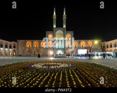 Amir Chakhmaq square by night, Yazd, Iran - Stock Image