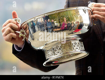Prague, Czech Republic. 12th Nov, 2018. Czech tennis captain Petr Pala poses with the Fed Cup trophy in Prague, Czech Republic, on November 12, 2018. Czech women won the tennis Fed Cup after Siniakova defeated Kenin, thanks to which they defeated the USA 3-0 in the final match. Credit: Roman Vondrous/CTK Photo/Alamy Live News - Stock Image