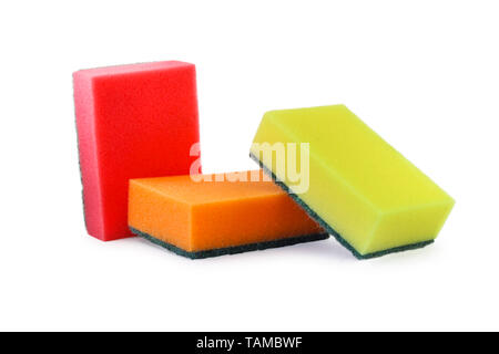 Multicolored foam rubber sponges for washing dishes - Stock Image