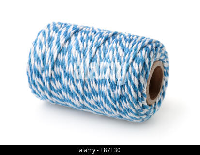 Blue striped cotton bakers twine spool isolated on white - Stock Image
