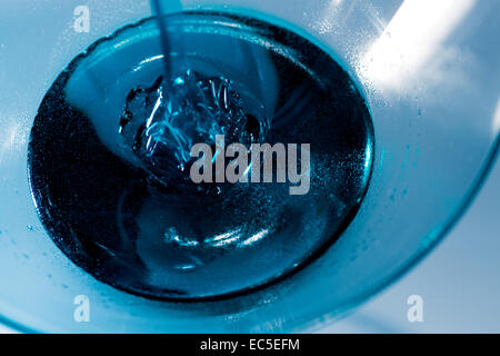 blue liquid in a glass - Stock Image