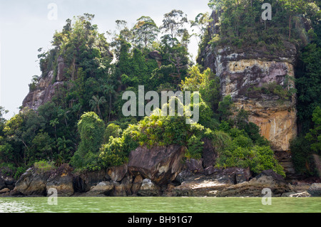 Mountain and estuary, Bako National Park, Bako, Sarawak, Borneo - Stock Image