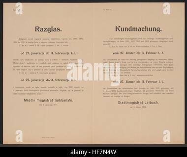 Für die Landsturmpflichtigen der Geburtsjahrgänge 1891 bis 1893 und 1895 liegen die Verzeichnisse im Militäramt - Stock Image