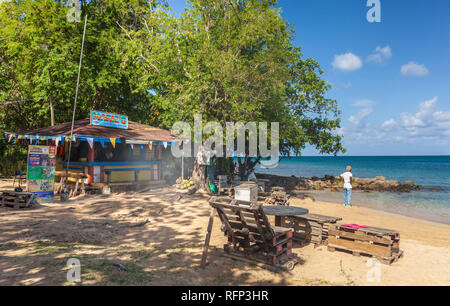 Marie's Shack and bar, Reduit Beach Rodney Bay, Saint Lucia, Caribbean. - Stock Image